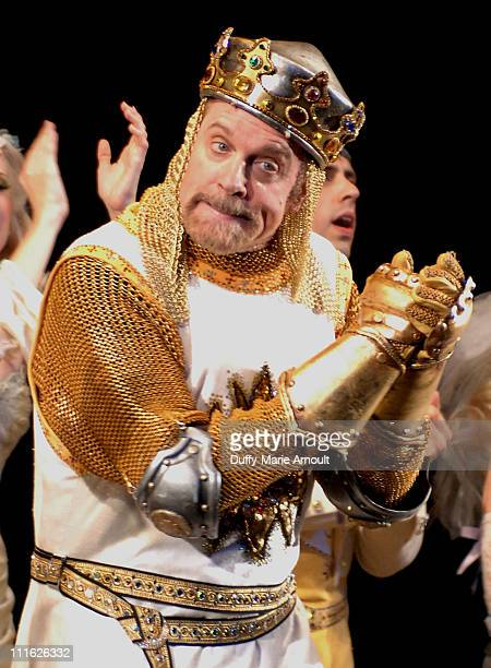 Actor Stephen Collins performs in 'Spamalot' on Broadway on June 24 2008 at the Shubert Theatre in New York City