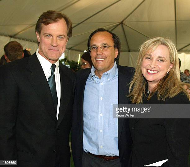 Actor Stephen Collins The WB's Jed Petrick and exec prod/creator Brenda Hampton pose at a reception to celebrate 150 episodes of The WB's '7th...