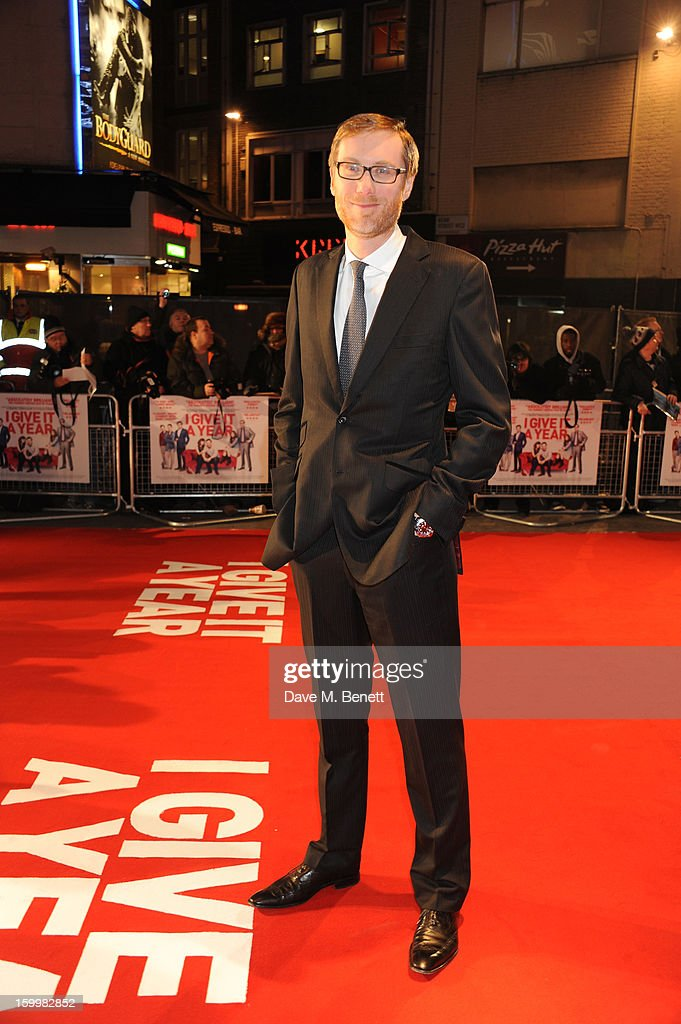 Actor <a gi-track='captionPersonalityLinkClicked' href=/galleries/search?phrase=Stephen+Merchant&family=editorial&specificpeople=646779 ng-click='$event.stopPropagation()'>Stephen Merchant</a> attends the European Premiere of 'I Give It A Year' at Vue West End on January 24, 2013 in London, England.