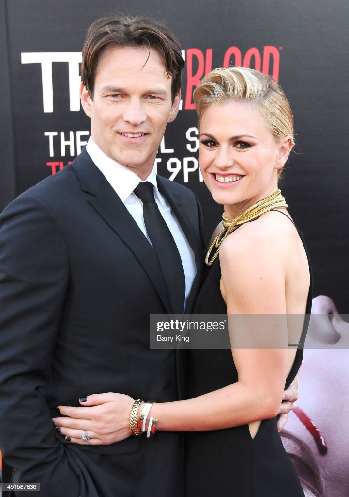 Actor <a gi-track='captionPersonalityLinkClicked' href=/galleries/search?phrase=Stephen+Moyer&family=editorial&specificpeople=4323688 ng-click='$event.stopPropagation()'>Stephen Moyer</a> and actress <a gi-track='captionPersonalityLinkClicked' href=/galleries/search?phrase=Anna+Paquin&family=editorial&specificpeople=211602 ng-click='$event.stopPropagation()'>Anna Paquin</a> arrive at HBO's 'True Blood' Final Season Premiere on June 17, 2014 at TCL Chinese Theatre in Hollywood, California.