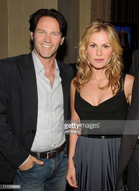 Actor Stephen Moyer and actress Anna Paquin pose during the HBO Channel 2008 Summer Television Critics Association Press Tour held at the Beverly...
