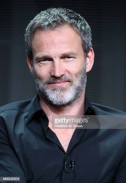Actor Stephen Moyer speaks onstage during 'The Bastard Executioner' panel discussion at the FX portion of the 2015 Summer TCA Tour at The Beverly...
