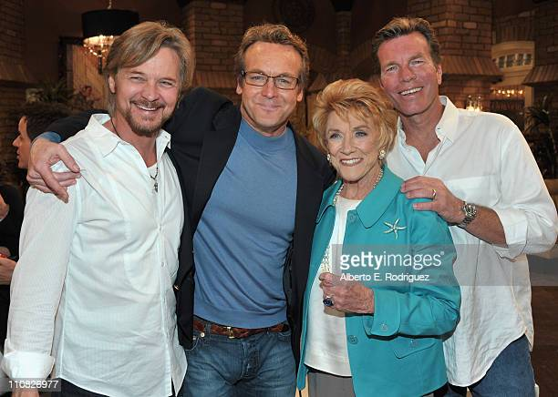 Actor Stephen Nichols actor Doug Davidson actress Jeanne Cooper and actor Peter Bergman attend CBS' 'The Young and the Restless' 38th Anniversary...