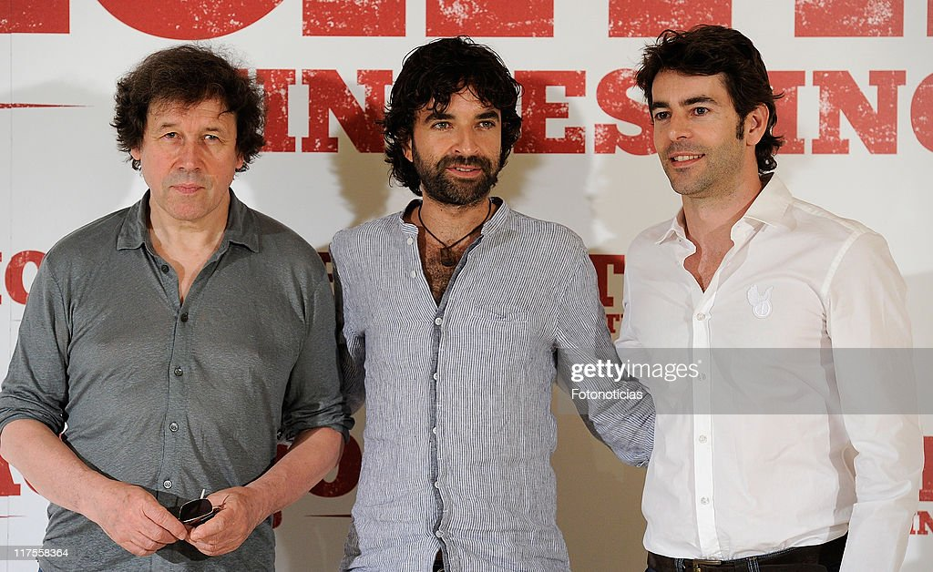 Actor Stephen Rea director Mateo Gil and actor Eduardo Noriega attend a photocall for 'Blackthorn Sin Destino' at Princesa Cinema on June 28 2011 in...