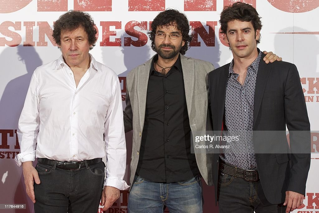 Actor Stephen Rea director Mateo Gil and actor Eduardo Noriega attend 'Blackthorn Sin Destino' premiere at the Capitol cinema on June 29 2011 in...