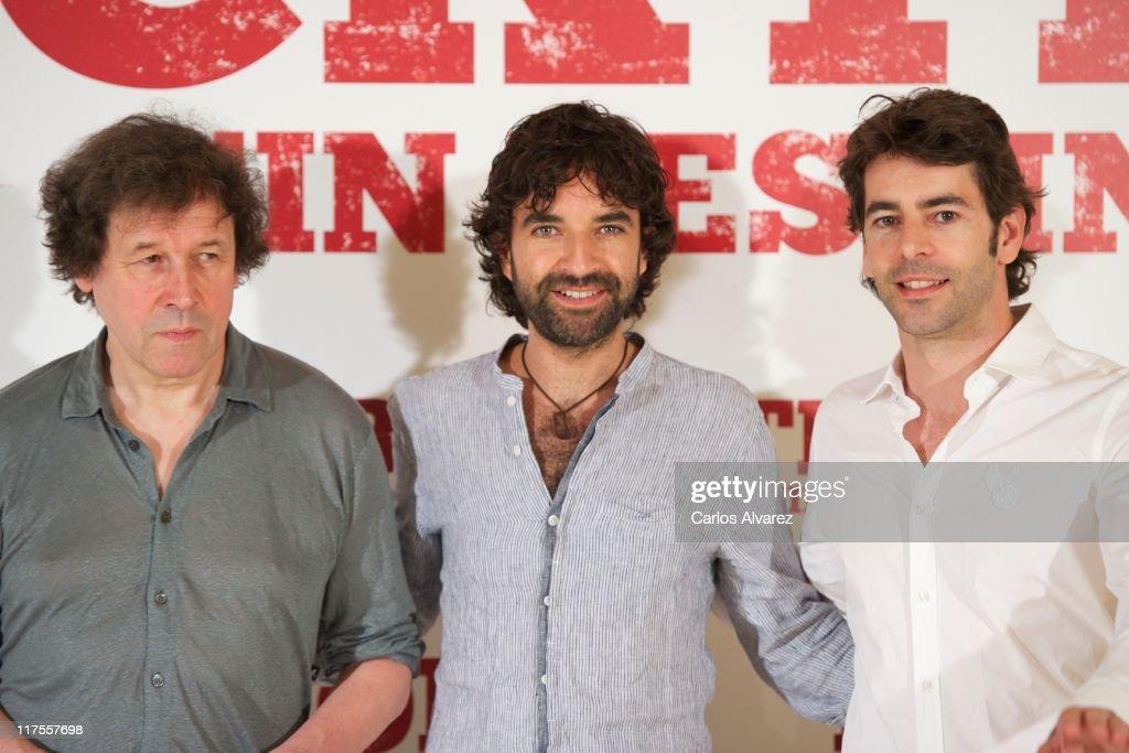 Actor Stephen Rea director Mateo Gil and Spanish actor Eduardo Noriega attend 'Blackthorn Sin Destino' photocall at the Princesa cinema on June 28...