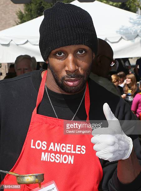 Actor Stephen 'tWitch' Boss attends the Los Angeles Mission Easter Celebration at the Los Angeles Mission on March 29 2013 in Los Angeles California