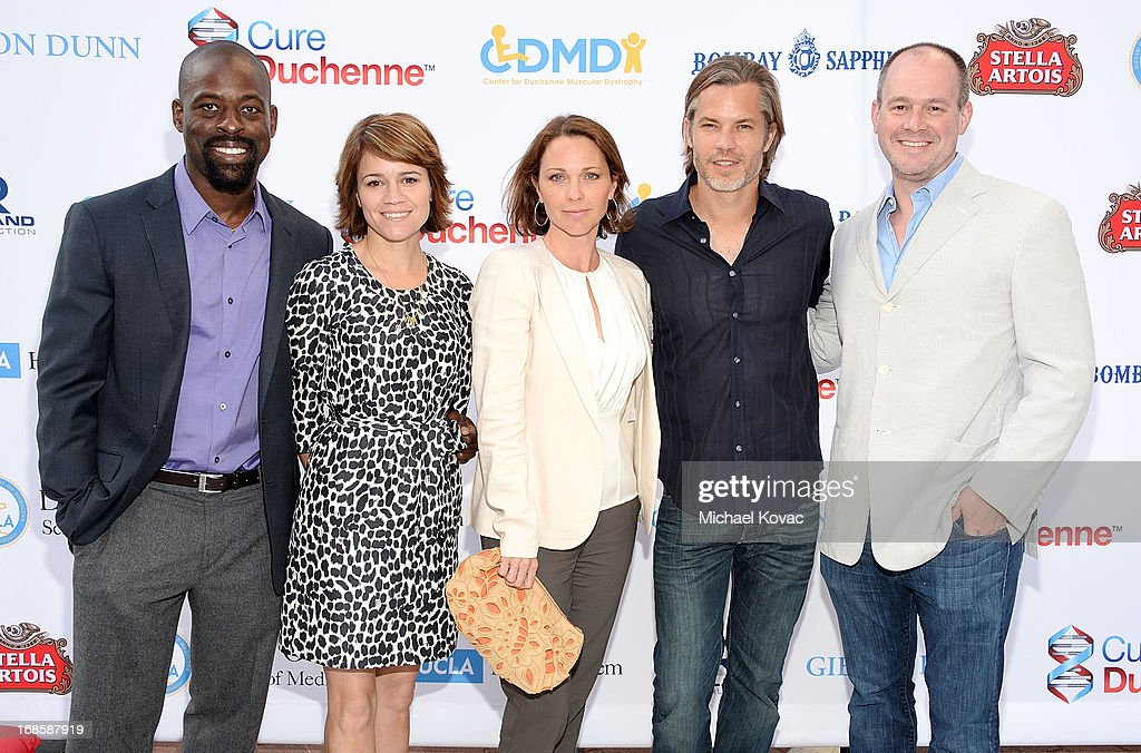 Actor Sterling K. Brown, actress Anna Belknap, actress <a gi-track='captionPersonalityLinkClicked' href=/galleries/search?phrase=Kelli+Williams&family=editorial&specificpeople=798660 ng-click='$event.stopPropagation()'>Kelli Williams</a>, actor <a gi-track='captionPersonalityLinkClicked' href=/galleries/search?phrase=Timothy+Olyphant&family=editorial&specificpeople=589275 ng-click='$event.stopPropagation()'>Timothy Olyphant</a> and journalist <a gi-track='captionPersonalityLinkClicked' href=/galleries/search?phrase=Rich+Eisen&family=editorial&specificpeople=625704 ng-click='$event.stopPropagation()'>Rich Eisen</a> attend the 6th Annual Dealing For Duchenne Charity Poker Tournament at Sony Pictures Studios on May 11, 2013 in Culver City, California.