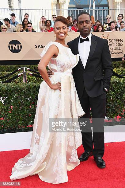 Actor Sterling K Brown and Ryan Michelle Bathe attend the 23rd Annual Screen Actors Guild Awards at The Shrine Expo Hall on January 29 2017 in Los...