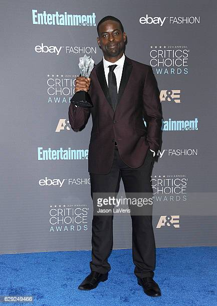 Actor Sterling K Brown poses in the press room at the 22nd annual Critics' Choice Awards at Barker Hangar on December 11 2016 in Santa Monica...