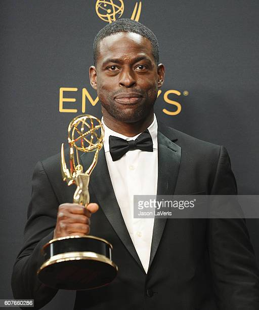 Actor Sterling K Brown poses in the press room at the 68th annual Primetime Emmy Awards at Microsoft Theater on September 18 2016 in Los Angeles...