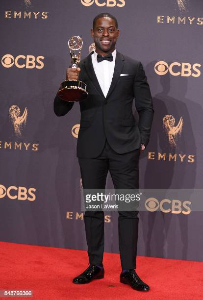 Actor Sterling K Brown poses in the press room at the 69th annual Primetime Emmy Awards at Microsoft Theater on September 17 2017 in Los Angeles...