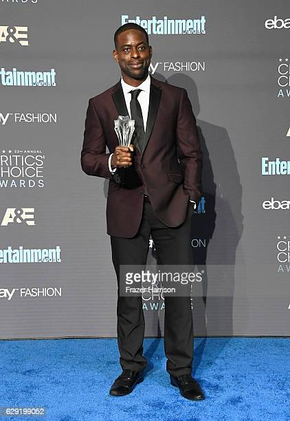 Actor Sterling K Brown winner of Best Supporting Actor in a Movie Made for Television or Limited Series for 'The People v OJ Simpson' poses in the...
