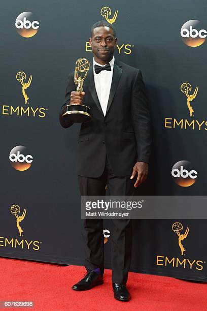 Actor Sterling K Brown winner of Outstanding Supporting Actor in a Limited Series or Movie for 'The People v OJ Simpson American Crime Story' poses...
