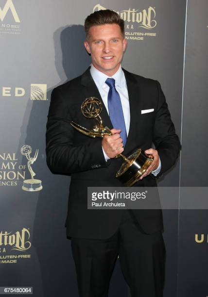 Actor Steve Burton attends the press room for the 44th annual Daytime Emmy Awards at Pasadena Civic Auditorium on April 30 2017 in Pasadena California
