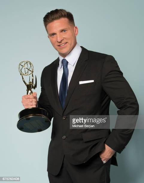Actor Steve Burton receives an Emmy Award for Outstanding Supporting Actor in a Drama Series for 'The Young and The Restless' on April 30 2017 in Los...
