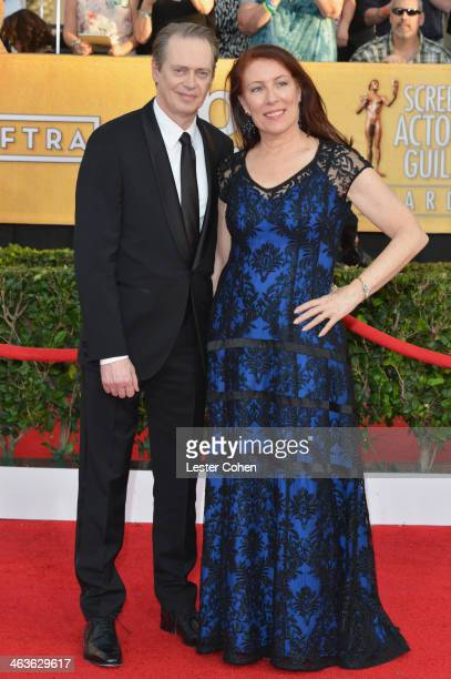 Actor Steve Buscemi and filmmaker Jo Andres attend the 20th Annual Screen Actors Guild Awards at The Shrine Auditorium on January 18 2014 in Los...