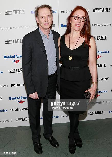 Actor Steve Buscemi and wife Jo Andres arrive at Bank of America and Food Wine with The Cinema Society present a screening of 'A Place at the Table'...