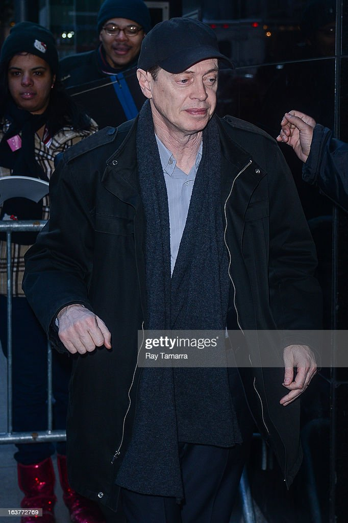 Actor Steve Buscemi enters the 'Good Morning America' taping at the ABC Times Square Studios on March 15, 2013 in New York City.