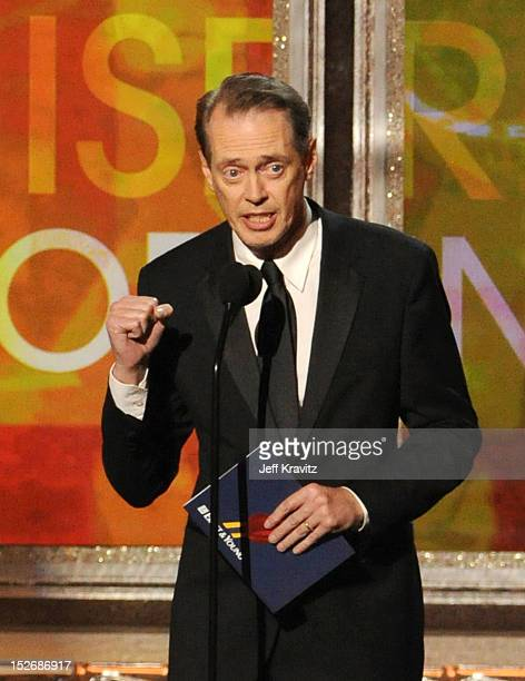 Actor Steve Buscemi onstage during the 64th Primetime Emmy Awards at Nokia Theatre LA Live on September 23 2012 in Los Angeles California