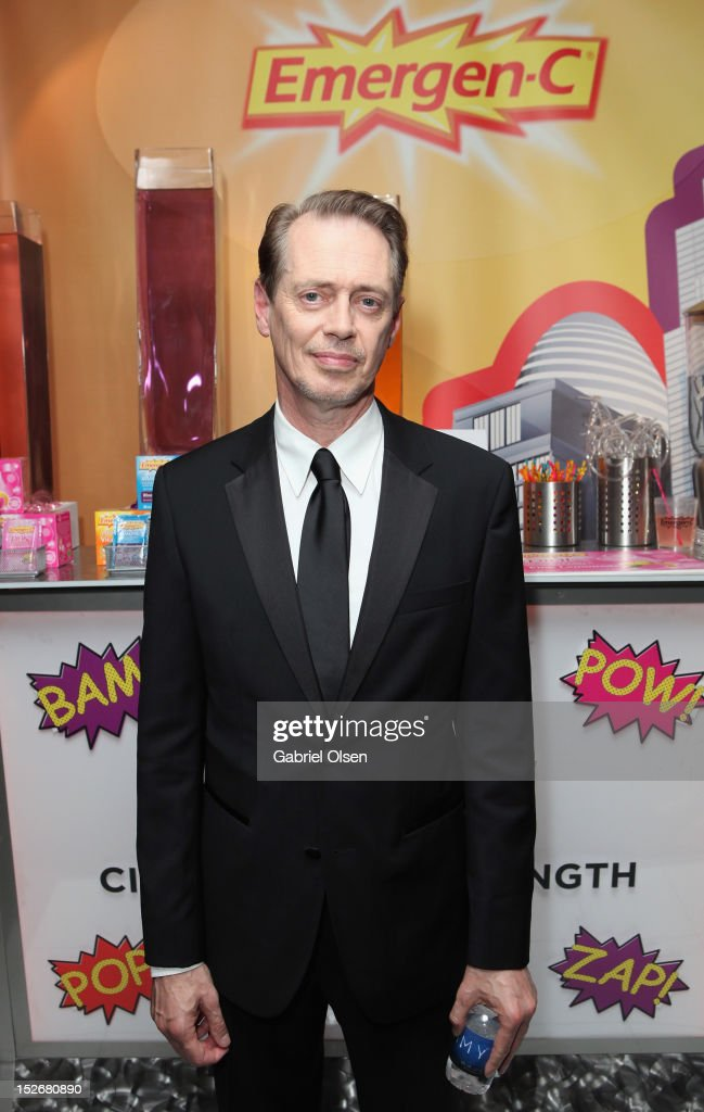 Actor <a gi-track='captionPersonalityLinkClicked' href=/galleries/search?phrase=Steve+Buscemi&family=editorial&specificpeople=207107 ng-click='$event.stopPropagation()'>Steve Buscemi</a> poses with Emergen-C in the Presenters Gift Lounge Backstage in celebration of the 64th Primetime Emmy Awards produced by On 3 Productions at Nokia Theatre L.A. Live on September 23, 2012 in Los Angeles, California.