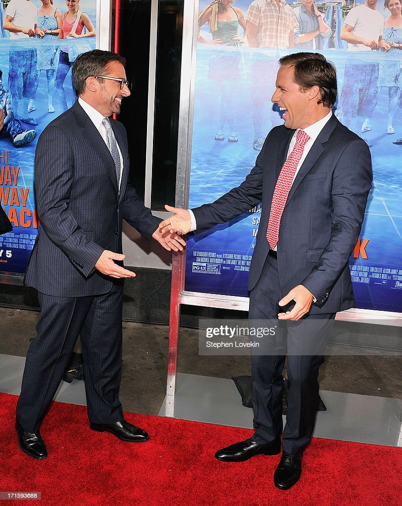 Actor <a gi-track='captionPersonalityLinkClicked' href=/galleries/search?phrase=Steve+Carell&family=editorial&specificpeople=595491 ng-click='$event.stopPropagation()'>Steve Carell</a> (L) and actor <a gi-track='captionPersonalityLinkClicked' href=/galleries/search?phrase=Nat+Faxon&family=editorial&specificpeople=734812 ng-click='$event.stopPropagation()'>Nat Faxon</a> attend 'The Way, Way Back ' New York Premiere at AMC Loews Lincoln Square on June 26, 2013 in New York City.