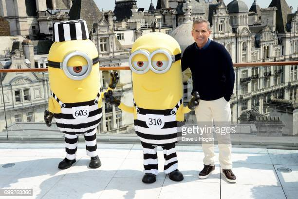 Actor Steve Carell and Minions attend the 'Despicable Me 3' photocall at Corinthia Hotel London on June 21 2017 in London England
