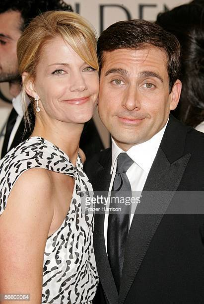 Actor Steve Carell and wife Nancy Walls arrives to the 63rd Annual Golden Globe Awards at the Beverly Hilton on January 16 2006 in Beverly Hills...