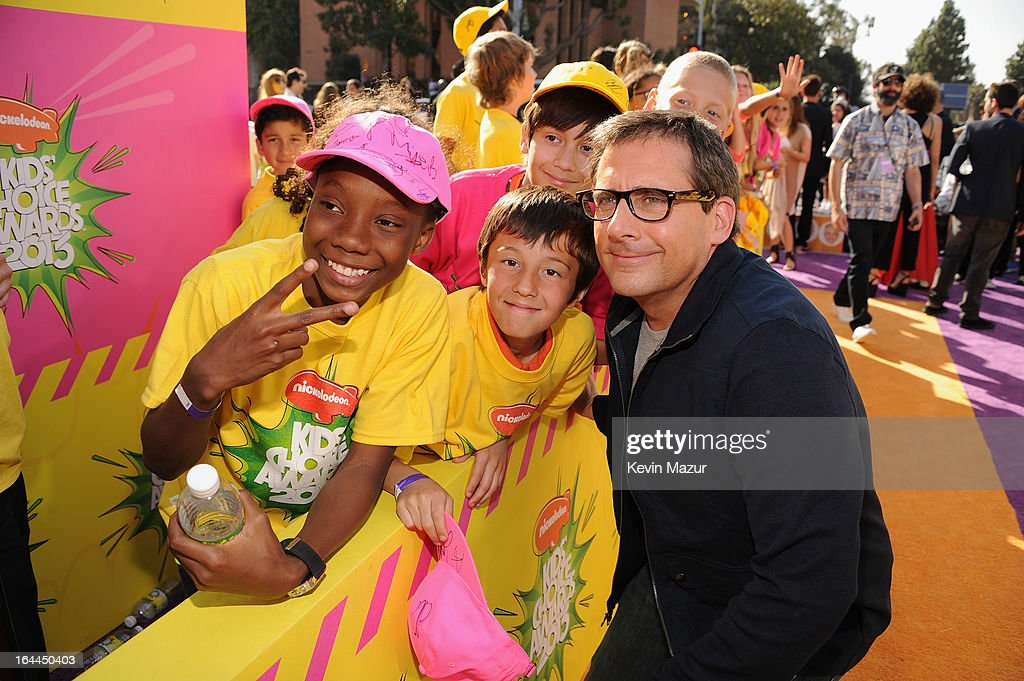 Actor <a gi-track='captionPersonalityLinkClicked' href=/galleries/search?phrase=Steve+Carell&family=editorial&specificpeople=595491 ng-click='$event.stopPropagation()'>Steve Carell</a> arrives at Nickelodeon's 26th Annual Kids' Choice Awards at USC Galen Center on March 23, 2013 in Los Angeles, California.