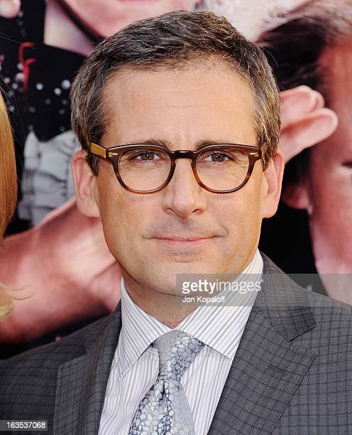 Actor Steve Carell arrives at the Los Angeles Premiere 'The Incredible Burt Wonderstone' at TCL Chinese Theatre on March 11 2013 in Hollywood...