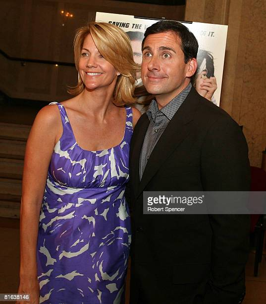 Actor Steve Carell arrives with his wife actress Nancy Walls for a charity screening of 'Get Smart' at Citi Performing Arts Center June 19 2008 in...