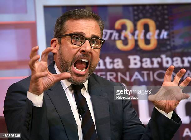 Actor Steve Carell speaks at the 2015 Outstanding Performer of the Year Award at the 30th Santa Barbara International Film Festival at the Arlington...