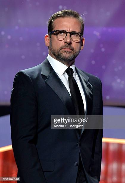 Actor Steve Carell speaks onstage at the 2015 Writers Guild Awards LA Ceremony at the Hyatt Regency Century Plaza on February 14 2015 in Century City...