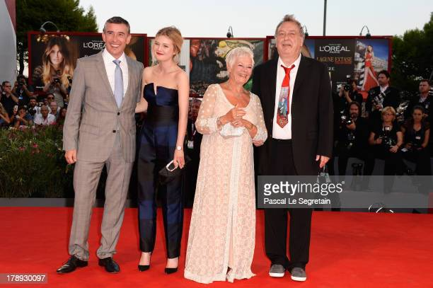 Actor Steve Coogan actress Sophie Kennedy Clark actress Judi Dench and director Stephen Frears attend the 'Philomena' Premiere during The 70th Venice...
