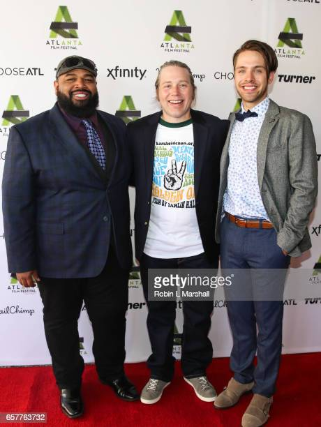 Actor Steve Ellis DirectorWriter Tamlin Hall and Actor Matthew Fahey attend the screening of 'Holden On' during the 2017 Atlanta Film Festival at the...