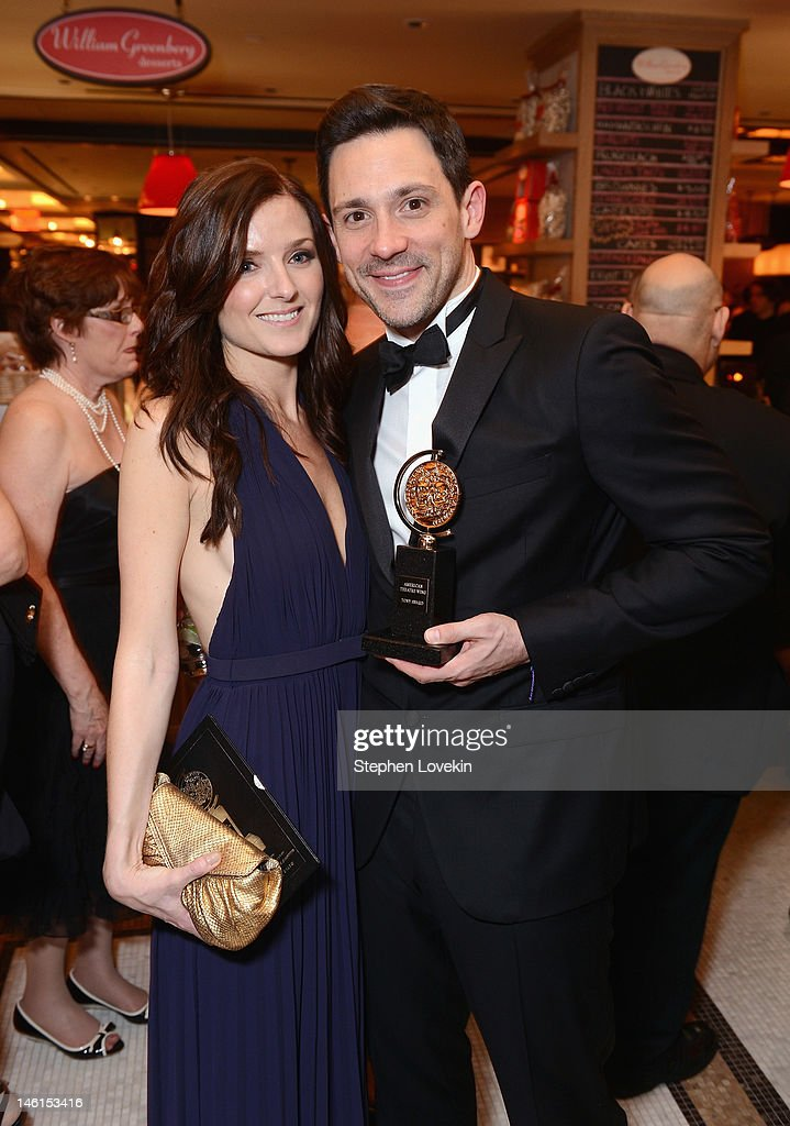 Actor <a gi-track='captionPersonalityLinkClicked' href=/galleries/search?phrase=Steve+Kazee&family=editorial&specificpeople=5624843 ng-click='$event.stopPropagation()'>Steve Kazee</a>, winner of Best Performance by a Leading Actor in a Musical for 'Once' (R) attends 66th Annual Tony Awards after party at The Plaza Hotel on June 10, 2012 in New York City.