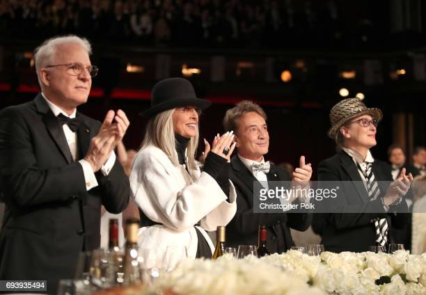 Actor Steve Martin 45th AFI Life Achievement Award Recipient Diane Keaton Comedian Martin Short and actor Meryl Streep during American Film...