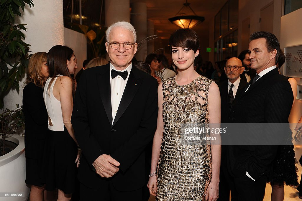 Actor <a gi-track='captionPersonalityLinkClicked' href=/galleries/search?phrase=Steve+Martin&family=editorial&specificpeople=196544 ng-click='$event.stopPropagation()'>Steve Martin</a> and Actress <a gi-track='captionPersonalityLinkClicked' href=/galleries/search?phrase=Anne+Hathaway+-+Sk%C3%A5despelerska&family=editorial&specificpeople=11647173 ng-click='$event.stopPropagation()'>Anne Hathaway</a> attend the 15th Annual Costume Designers Guild Awards with presenting sponsor Lacoste at The Beverly Hilton Hotel on February 19, 2013 in Beverly Hills, California.