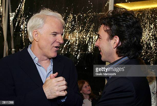 Actor Steve Martin and director Shawn Levy attend the Cheaper By The Dozen Premiere on December 14 2003 in Hollywood California