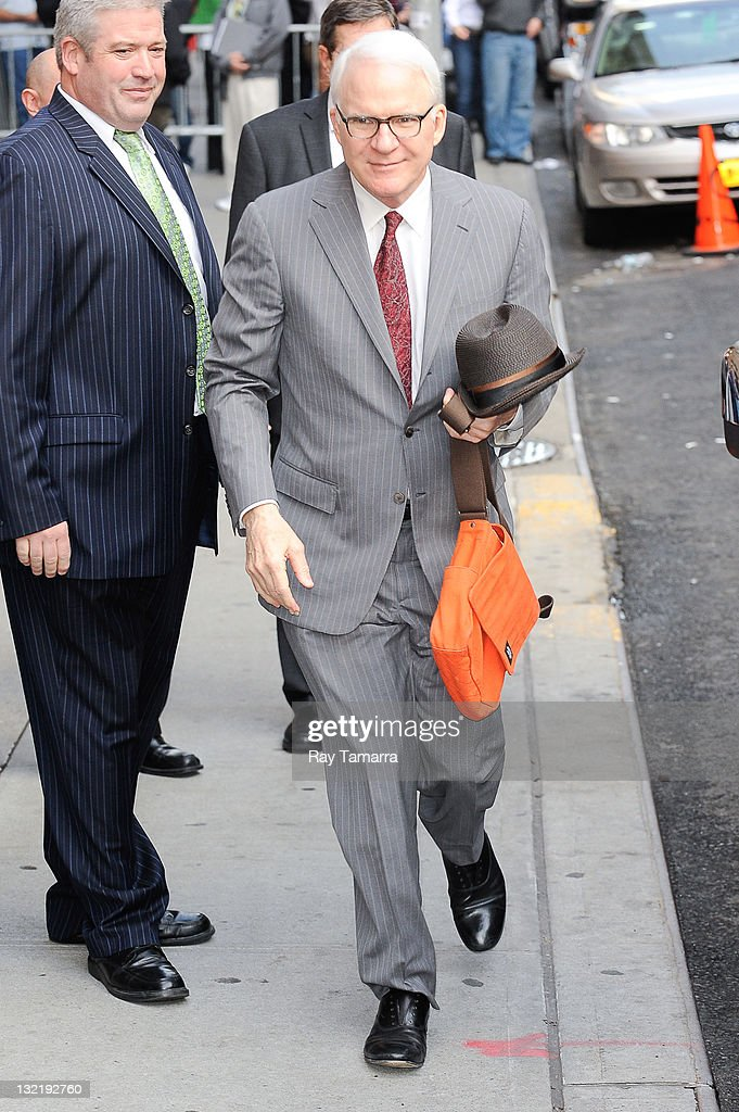 Actor <a gi-track='captionPersonalityLinkClicked' href=/galleries/search?phrase=Steve+Martin&family=editorial&specificpeople=196544 ng-click='$event.stopPropagation()'>Steve Martin</a> enters the 'Late Show With David Letterman' taping at the Ed Sullivan Theater on November 10, 2011 in New York City.