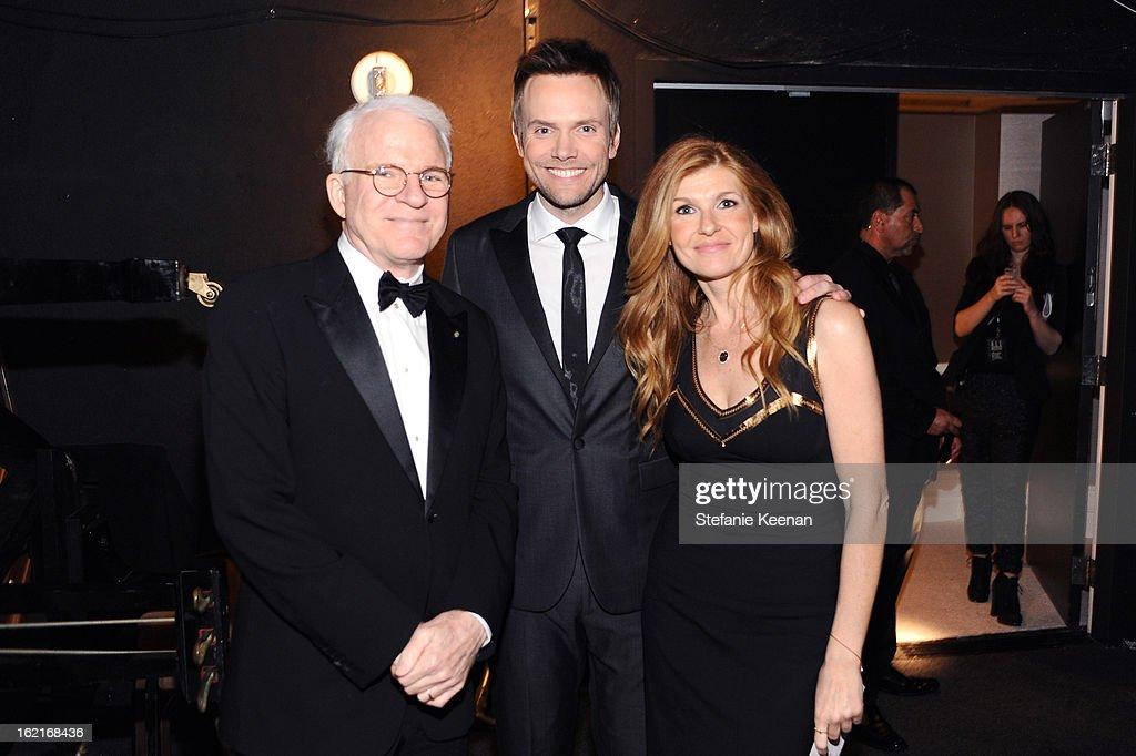 Actor Steve Martin, host Joel McHale and actress Connie Britton attend the 15th Annual Costume Designers Guild Awards with presenting sponsor Lacoste at The Beverly Hilton Hotel on February 19, 2013 in Beverly Hills, California.