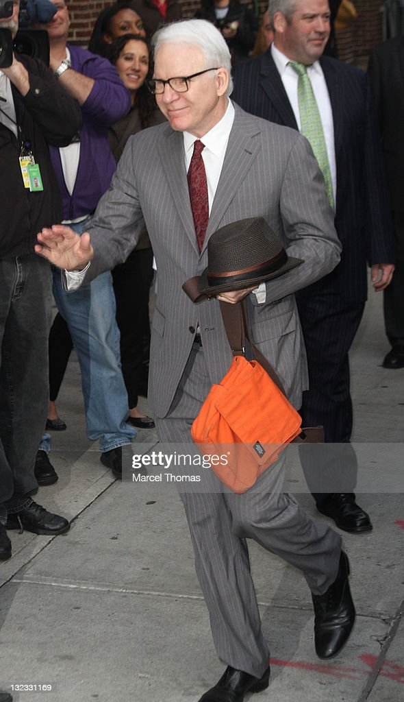 Actor <a gi-track='captionPersonalityLinkClicked' href=/galleries/search?phrase=Steve+Martin&family=editorial&specificpeople=196544 ng-click='$event.stopPropagation()'>Steve Martin</a> is seen arriving at the 'Late Show With David Letterman' at the Ed Sullivan Theater on November 10, 2011 in New York City.
