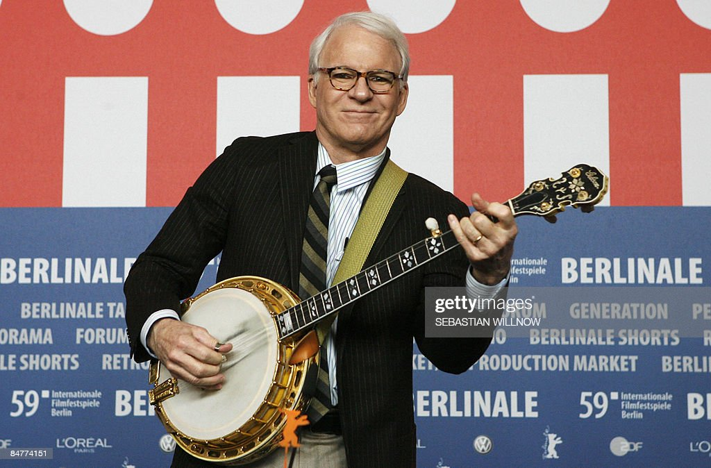 US actor Steve Martin plays the banjo during a press conference for the movie at the 59th Berlinale Film Festival in Berlin on February 13 one day...