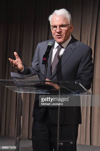 Actor Steve Martin speaks onstage during the Elevator Repair Service Theater 25th Anniversary Gala at Tribeca Rooftop on May 22 2017 in New York City