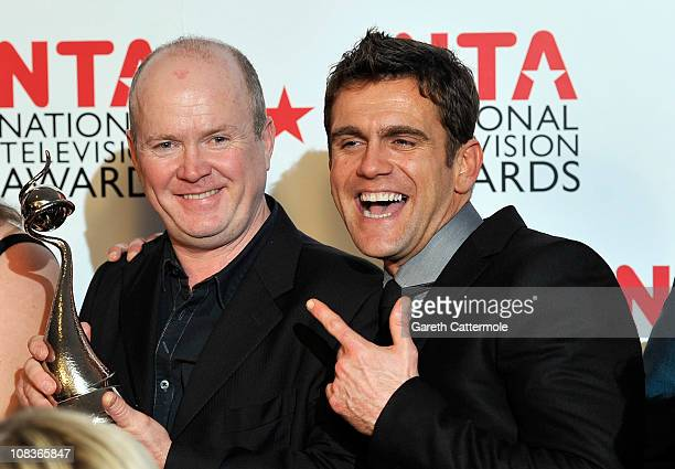 Actor Steve McFadden and Scott Maslen with the Most Popular Serial Drama award for Eastenders during the National Television Awards at the O2 Arena...