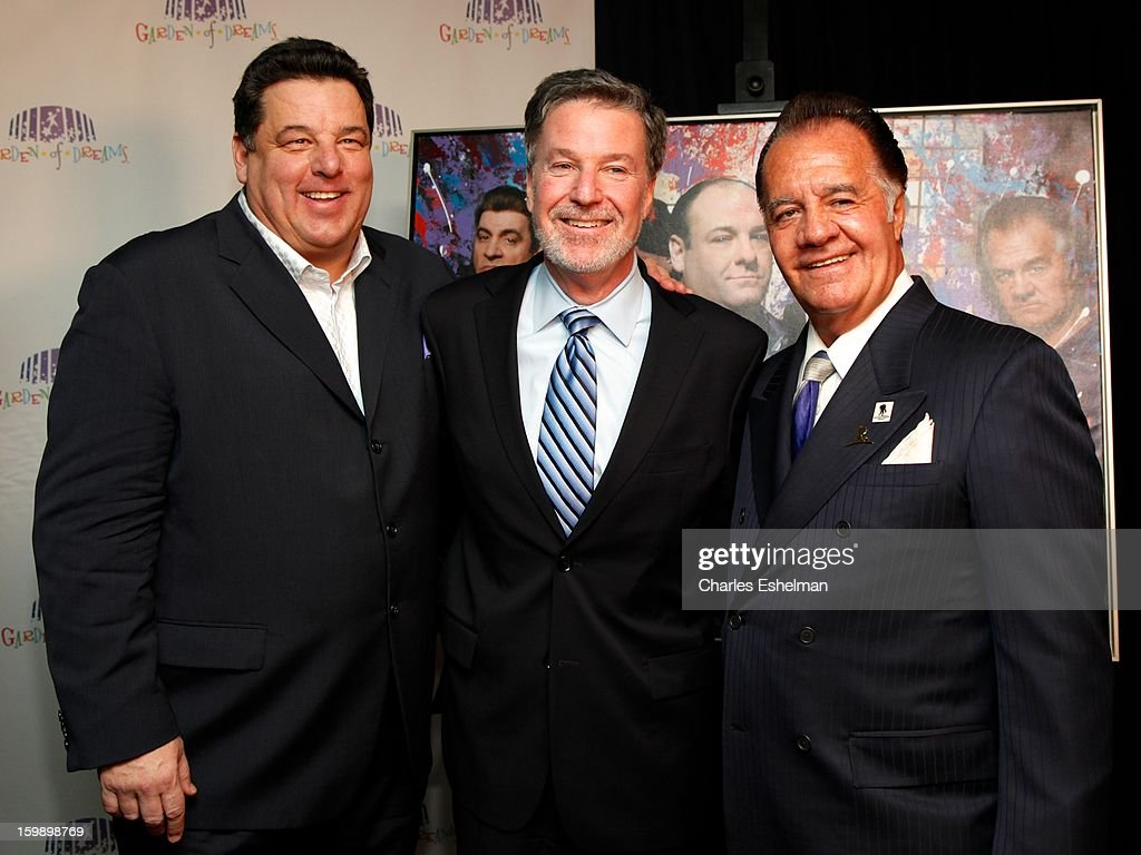 Actor <a gi-track='captionPersonalityLinkClicked' href=/galleries/search?phrase=Steve+Schirripa&family=editorial&specificpeople=213388 ng-click='$event.stopPropagation()'>Steve Schirripa</a>, MSG President and CEO/Garden of Dreams Foundation Chairman Hank Ratner and actor <a gi-track='captionPersonalityLinkClicked' href=/galleries/search?phrase=Tony+Sirico&family=editorial&specificpeople=218067 ng-click='$event.stopPropagation()'>Tony Sirico</a> attend the Garden of Dreams Foundation press conference at Madison Square Garden on January 22, 2013 in New York City.