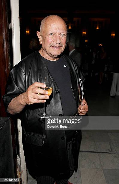 Actor Steven Berkoff attends an after party celebrating the Press Night performance of 'Volcano' at The Waldorf Hilton Hotel on August 16 2012 in...