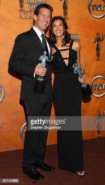 Actor Steven Culp and actress Teri Hatcher with theri awards for Outstanding Performance by an Ensemble in a Comedy Series pose in the press room at...