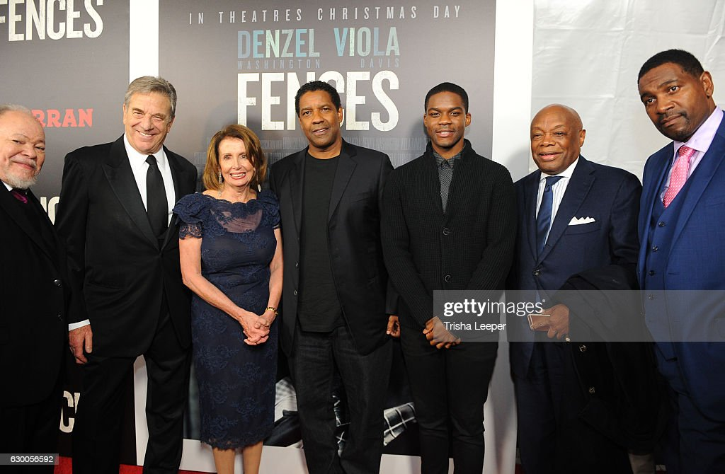 Actor Steven McKinley Henderson, Paul Pelos, Congresswoman Nancy Pelosi Actor Denzel Washington, Actor Jovan Adepo, SF Formor Mayor Willie Brown and Actor Mykelti Williamson arrive at the Curran Theatre on December 15, 2016 in San Francisco, California.