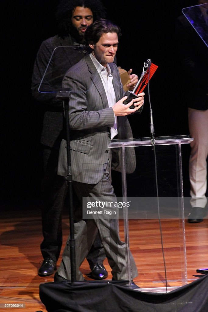 Actor Steven Pasquale accepts an award onstage during the 31st Annual Lucille Lortel Awards at NYU Skirball Center on May 1, 2016 in New York City.